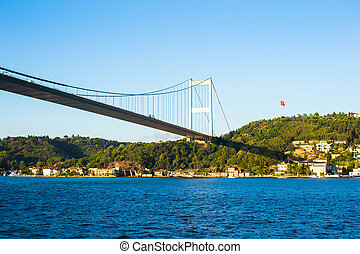 Fatih Sultan Mehmet Bridge over the Bosphorus strait in Istanbul, Turkey.