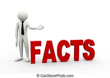 fatos, homem negócios, palavra, 3d
