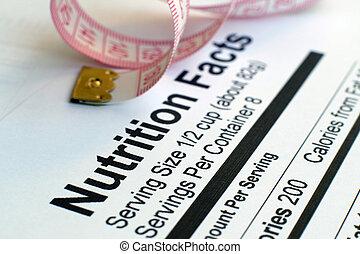 fatos nutrição, e, medida, fita