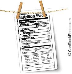 fatos nutrição, etiqueta, pendurar, um, rope., vector.