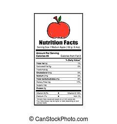 fatos, nutrição, maçã, ilustração