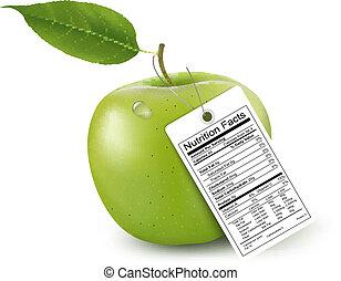 fatos, nutrição, maçã, label., vector.