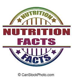 fatos, nutrição, selo