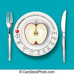 fatos, nutrição, vetorial, maçã