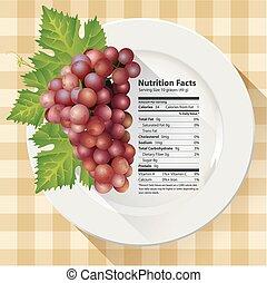 fatos, vermelho, nutrição, uvas