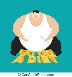 fatso, dicker , illustratio, vektor, diet., vielfraß, gehen, kerl, dick, man.