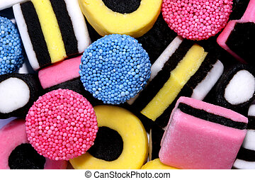 Fattening - Assortment of licorice allsorts sweets.