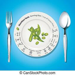 fatti, nutritivo, piselli verdi