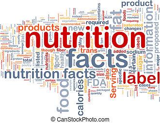 fatti nutrizione, fondo, wordcloud, concetto, illustrazione