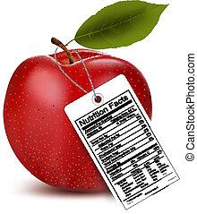 fatti, nutrizione, vettore, mela, label.