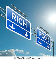 fattig, concept., eller, rik