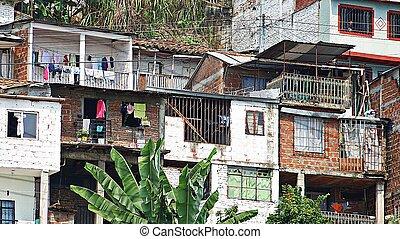 fattig, hus, grannskap, barrio
