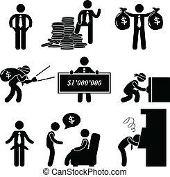 fattig, mand, pictogram, rige, folk