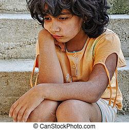 fattigdom, och, poorness, på, den, uttryck, av, barn