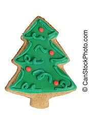fatto, albero, isolato, forma, biscotto, fondo, pan zenzero, natale bianco