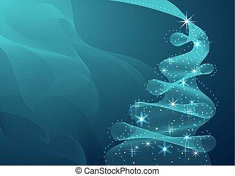 fatto, albero, sfavillante, onda, flow., natale