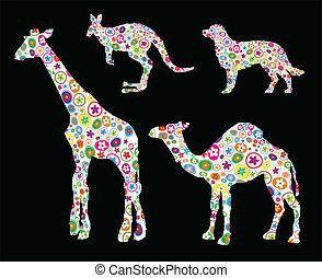 fatto, animale, su, illustrazione, forma, vettore, fiore, lotto, piccolo