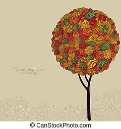 fatto, astratto, albero, illustrazione, autunno, disegno, onde, tuo