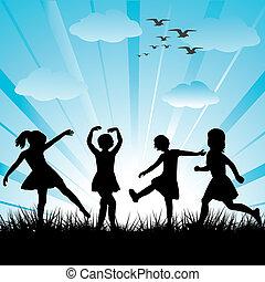 fatto, bambini, silhouette, mano, erba, gioco