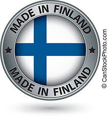 fatto, bandiera finlandia, illustrazione, etichetta, vettore, argento