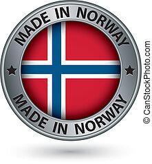 fatto, bandiera, illustrazione, etichetta, vettore, norvegia, argento