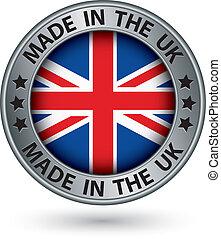 fatto, bandiera, illustrazione, etichetta, vettore, regno unito, argento