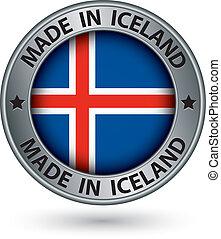 fatto, bandiera islanda, illustrazione, etichetta, vettore, argento