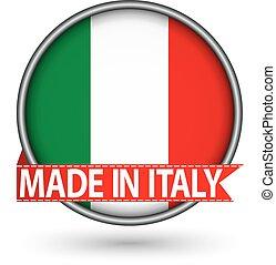 fatto, bandiera italia, illustrazione, etichetta, vettore, argento