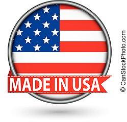 fatto, bandiera usa, illustrazione, etichetta, vettore, argento
