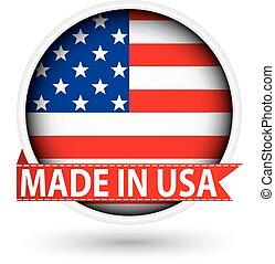 fatto, bandiera usa, illustrazione, etichetta, vettore