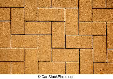fatto, blocchi, concreto, colorare, modello, giallo, gettare, marciapiede