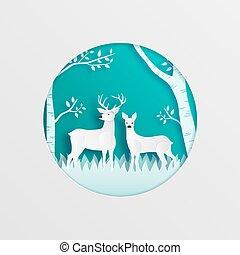 fatto, blu, mestiere, taglio, style., digitale, coppia, foresta, fondo., cervo, arte, carta