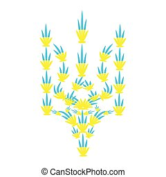 fatto, canapa, emblema, leaves., ucraina, yellow-blue