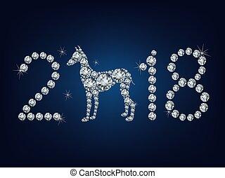 fatto, cane, su, creativo, 2018, lotto, anno, nuovo, felice,...