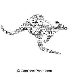 fatto, canguro, vettore, parole, australiano, format., slang