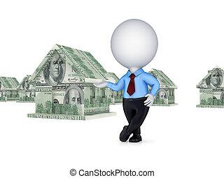 fatto, casa, soldi., persona, piccolo, 3d