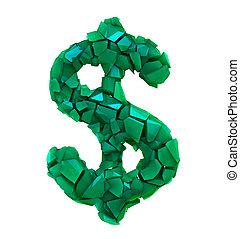 fatto, colorare, simbolo, dollaro, isolato, illustrazione, plastica, rotto, verde bianco, 3d
