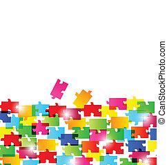 fatto, colorito, astratto, pezzi, fondo, puzzle