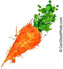 fatto, colorito, carota, schizzi, fondo, bianco