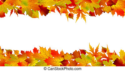 fatto, colorito, leaves., eps, autunno, 8, bordo