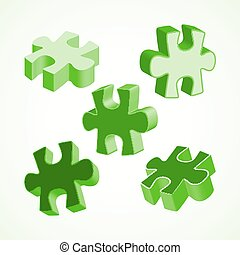 fatto, colorito, puzzle, illustrazione, pezzi, quattro, vettore