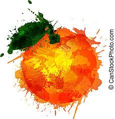 fatto, colorito, schizzi, fondo, arancia, bianco