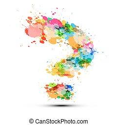 fatto, colorito, simbolo, punto interrogativo, splashes., fondo., vettore, bianco, segno