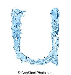 fatto, congelato, alfabeto, -, acqua, u, lettera