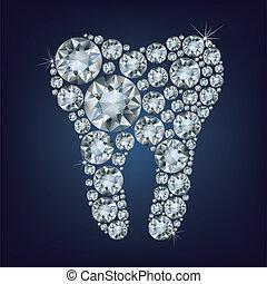fatto, diamanti, su, lotto, dente