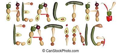 fatto, eating', verdura, frase, 'healthy, fuori
