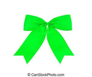 fatto, festivo, isolato, arco, verde bianco, nastro