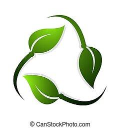 fatto, foglia, simbolo, leaves., rotante, vettore, verde, riciclare, disegno