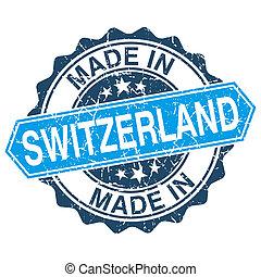 fatto, in, svizzera, vendemmia, francobollo, isolato,...
