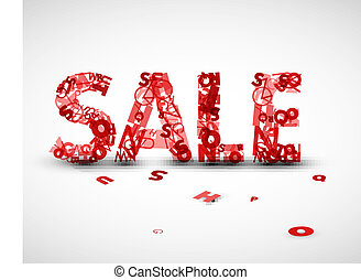 fatto, lettere, vendita, etichetta, vettore, rosso